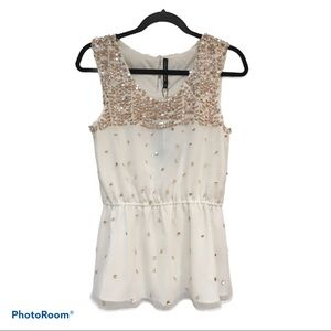 ⭐️NWT Gorgeous Ivory Sequined Tank